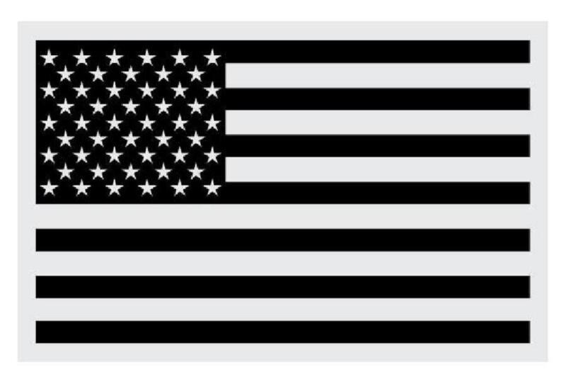 "American Flag Black Small Reflective Helmet Decal Sticker 2"" X 3"""