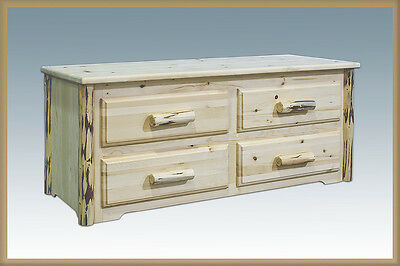 4 Drawer Log Chest (Log Chest with Drawers 4 Drawer Blanket Chest Amish Made Rustic)