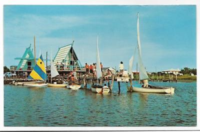 PIER,BEACH HOUSES,SAILBOATS,ON THE SOUND,OUTER BANKS-KITTY HAWK BAY,NC