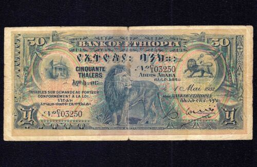 Ethiopia  50  Thalers 1932  P-9   * Lion * First Issue ! * RARE *