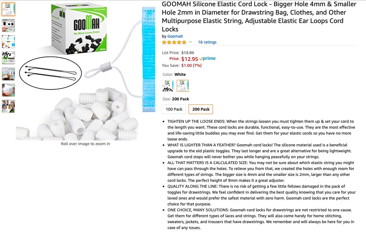 GOOMAH Silicone Elastic Cord Lock - Bigger Hole 4mm Smaller Hole 2mm In Diamet - $8.50