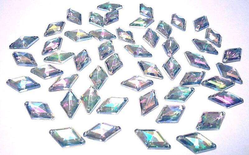 CraftbuddyUS 50pcs 9x15mm Sew On  AB Clear Diamond Acrylc Diamnte Crystal Gems