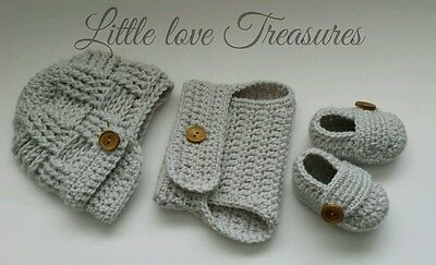Newsboy Outfit (Baby Boy Newsboy Hat Diaper cover Booties Crochet photo prop Outfits)