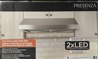 Presenza Under Cabinet Range Hood 7in. Stainless Steel 380 CFM LED Lights QR065