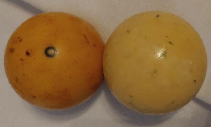 Vintage lot of 2 CUE BALLS Pool Billiard Butterscotch etc