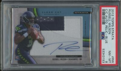 2012 Topps Strata Clear Cut Blue Russell Wilson 10/75 Auto Patch PSA 8