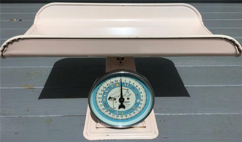 VTG PINK HANSON MODEL 3025 BABY INFANT NURSERY SCALE NICE CONDITION & GRAPHICS!