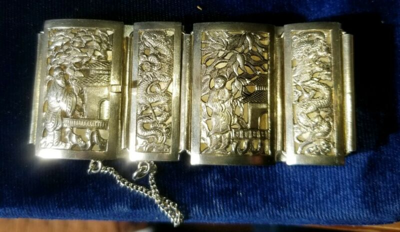 BEAUTIFUL Antique Dragon Sterling Silver FRENCH INDOCHINA Panel BRACELET