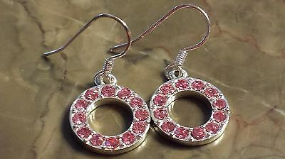 Pewter Eternity Circle Pink CZ Earrings