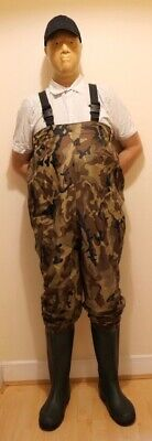 GEOLOGIC FISHING PVC BY DECATHLON CAMOUFLAGE CHEST WADERS SIZE 11 GREEN for sale  Shipping to Ireland