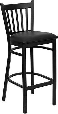 Lot Of 8 Black Vertical Back Metal Restaurant Bar Stool - Black Vinyl Seat