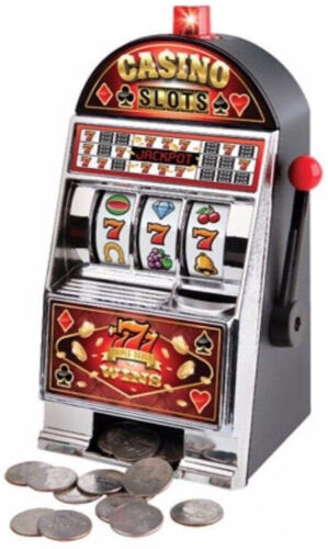 Casino Savings Bank Slot Machine 777 Spinning Wheel Jackpot includes Batteries