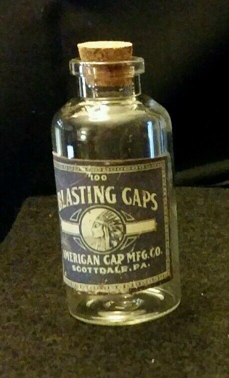 Vintage Style American Glass Blasting Cap Bottles...Artist Handcrafted ...Nice