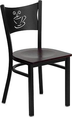 10 Metal Restaurant Coffee Shop Chairs W Mahogany Seat