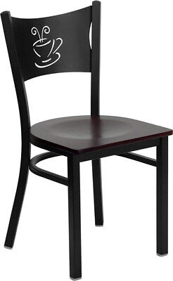 Metal Restaurant Coffee Shop Chair With Mahogany Seat