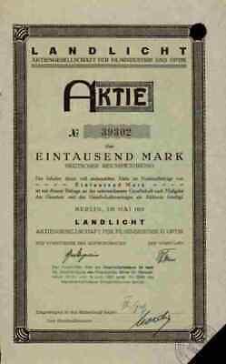 Landlicht AG 1923 Filmindustrie Berlin Kassel München 1000 M Feinmechanik Aktie