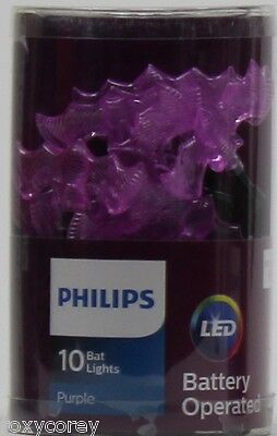 Halloween Philips 10 Purple Battery Operated Bats LED Lights 3 ft lighted length