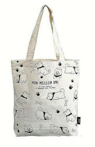 NEW Shiba Inu Dog Canvas Beige Book Grocery Shopping Reusable Shoulder Tote Bag