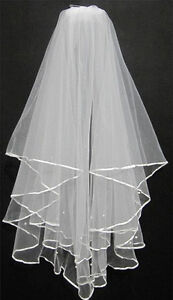 Wedding Bridal 2T Tulle Veil with Pearls Satin Edge & Comb - New