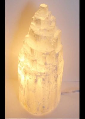 Beautiful SNOW MOUNTAIN HEALING SELENITE CRYSTAL LAMP 2.00kg 20cm REIKI HEAL