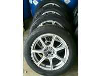 4 Original Wolfrace Alloy Wheels with Tyres