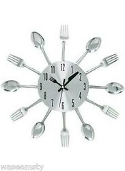3D Whimsical Kitchen Cutlery Spoon Fork Utensils Dinning Wall Clock Decor Art