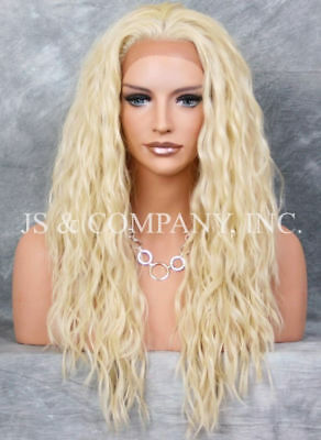 Wavy Pale Blonde HEAT OK Full Human Hair Blend Lace Front wig NUO 613