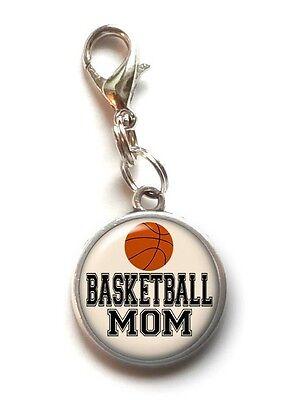 Sports Mom Charm - Clip On Charm BASKETBALL MOM Sports Dangle Charm Lobster Claw Clasp Handmade USA