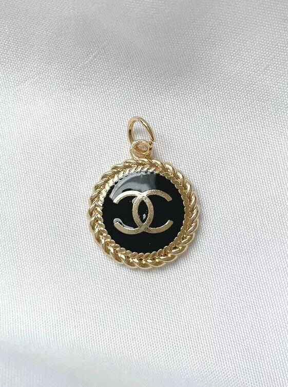 CHANEL CC Gold Plated button metal zipper pull, Black, 20mm, unstamped
