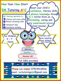 Early Years/Infant Tuition Liverpool . Phonic screening skills/Literacy based tasks/Homework