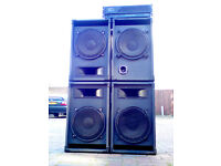 DJ 15inch Speakers 4x500w, flight cased durable with QSC Passive 2000w Amp