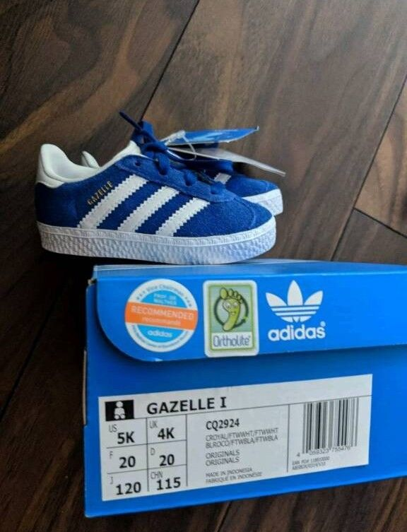 7a9137d7fd8ad NEW Adidas Gazelle Boys Girls Size 4 4K Baby Infant Toddler Kids Trainers  Blue