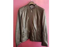 Hugo Boss Orange Men's Jelon Black Leather Long Sleeve Jacket Size 42
