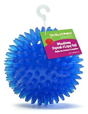 """Gnawsome Squeak and Light Ball Dog Toy, Medium 3.5"""", assorted colors - Pet Toy"""
