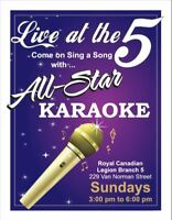BR. 5 LEGION:  ALL STAR KARAOKE Every SUNDAY with Rod Jackson