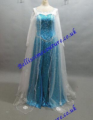 en Queen Elsa Costume adult SIZE 6,8,10,12,14,16 short train (Disney Queen Elsa Kleid)