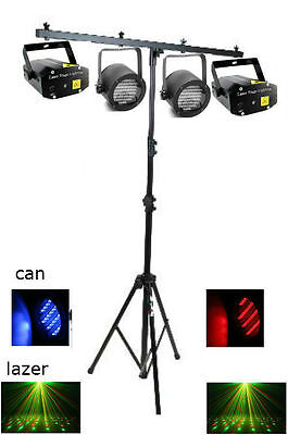 Complete DJ Light Set, Lasers, LED Cans, Tripod Stand, NEW!
