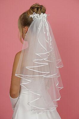 BRAUTSCHLEIER SCHLEIER AUS FEINTÜLL 70 cm  WEISS passend zum Brautkleid,