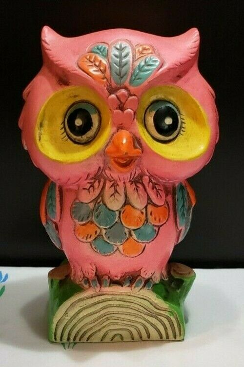 "1960s Fluorescent Pink Chalkware Holiday Fair 7"" VINTAGE Owl Piggy Bank, Japan"
