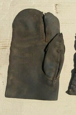 Vintage Antique Thick Leather Hedge Layers Singular Glove Gauntlet Heavy Duty