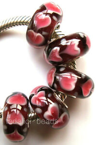 5pcs Ren Heart Murano Lampwork Glass Beads Fit European Charm Bracelet TF435