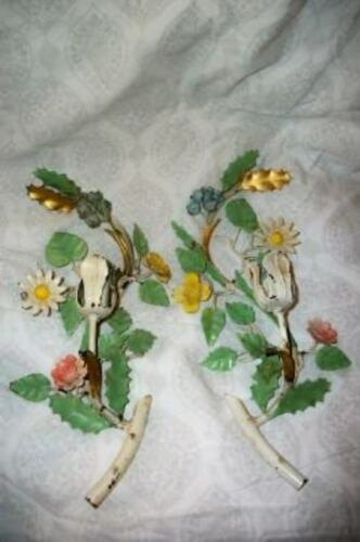 ITALIAN TOLE CANDLE SCONCES COLORFUL FLOWERS GILT LEAF CHIPPY NICE MID CENTURY