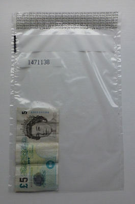50 x Plastic Tamper Evident Note / Bank Bags / Cash / Money / Valuables LARGE
