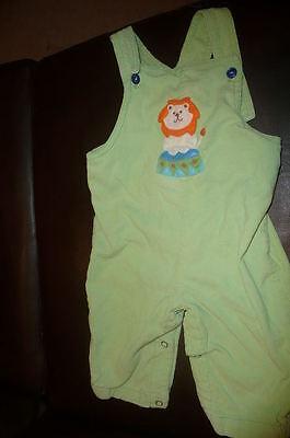 12 m Luigi green corduroy longall overalls applique lion