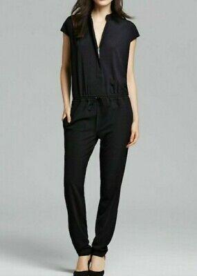 Vince Zip Front Cap Sleeve Black Women's Jumpsuit Size 6