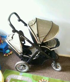 Oyster max tandem / double pram in khaki with 2 seats + carseat