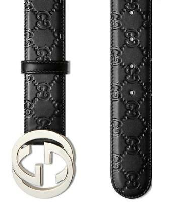 NEW GUCCI GUCCISSIMA BLACK LEATHER INTERLOCKING G PALLADIUM BUCKLE BELT 110/44