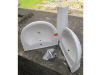 2 unused bathroom monotap basins and single monotap