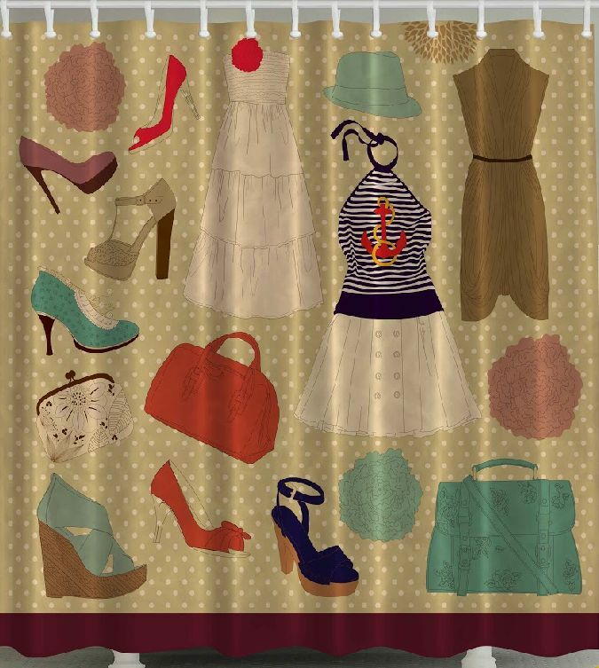 Glamour SHOWER CURTAIN Retro Diva Chic Fashion Style Vintage Shoes ...