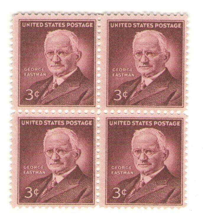 George Eastman Kodak Camera Inventor 67 Year Old Mint Vintage Stamp Block 1954